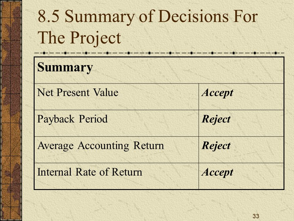 33 8.5 Summary of Decisions For The Project Summary Net Present ValueAccept Payback PeriodReject Average Accounting ReturnReject Internal Rate of Retu