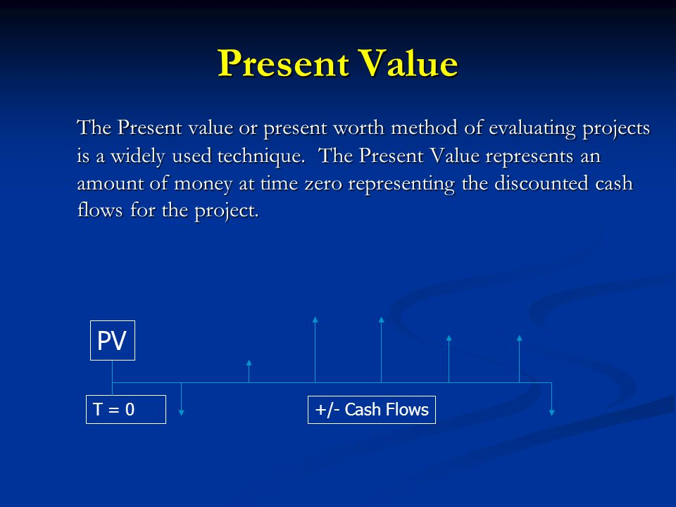 Present Value The Present value or present worth method of evaluating projects is a widely used technique.