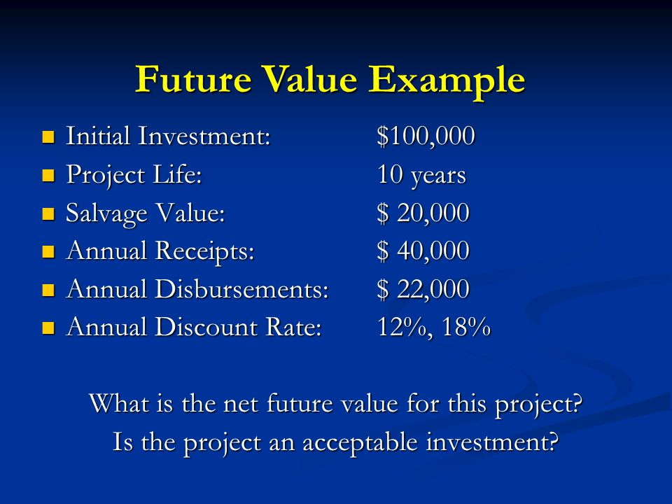 Initial Investment:$100,000 Initial Investment:$100,000 Project Life:10 years Project Life:10 years Salvage Value:$ 20,000 Salvage Value:$ 20,000 Annu