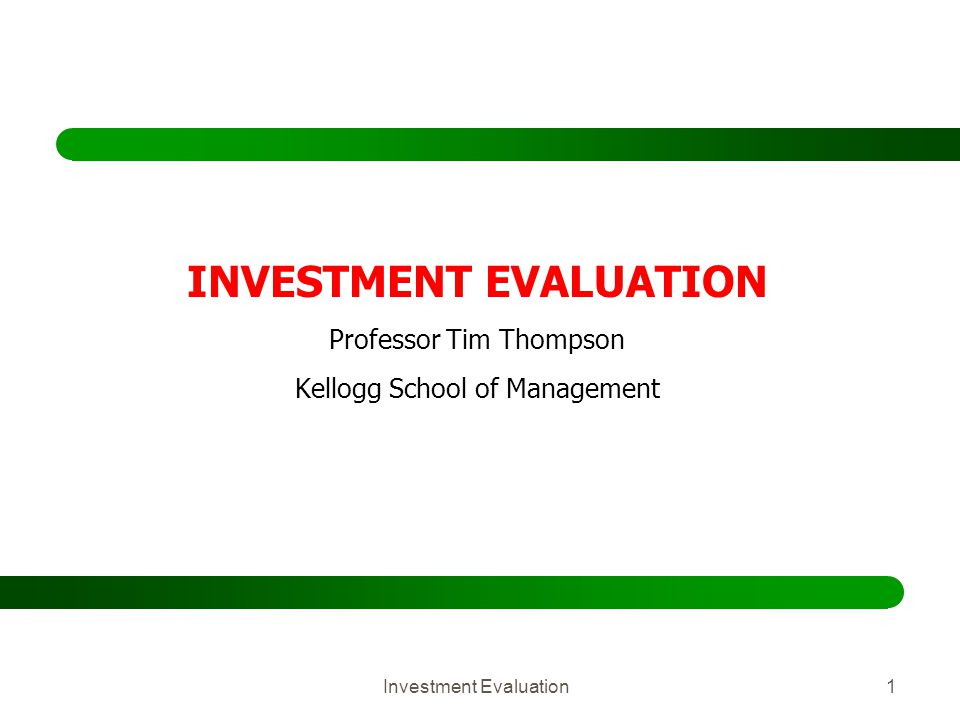 Investment Evaluation32 Calculation of IRR The IRR is the r that solves Decision Rule: Accept the project if IRR > Opportunity Cost of Capital