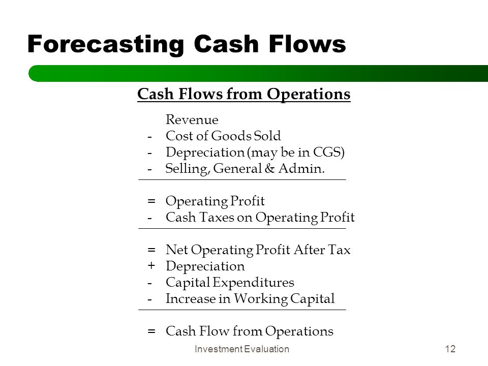 Investment Evaluation12 Forecasting Cash Flows Cash Flows from Operations Revenue -Cost of Goods Sold -Depreciation (may be in CGS) -Selling, General