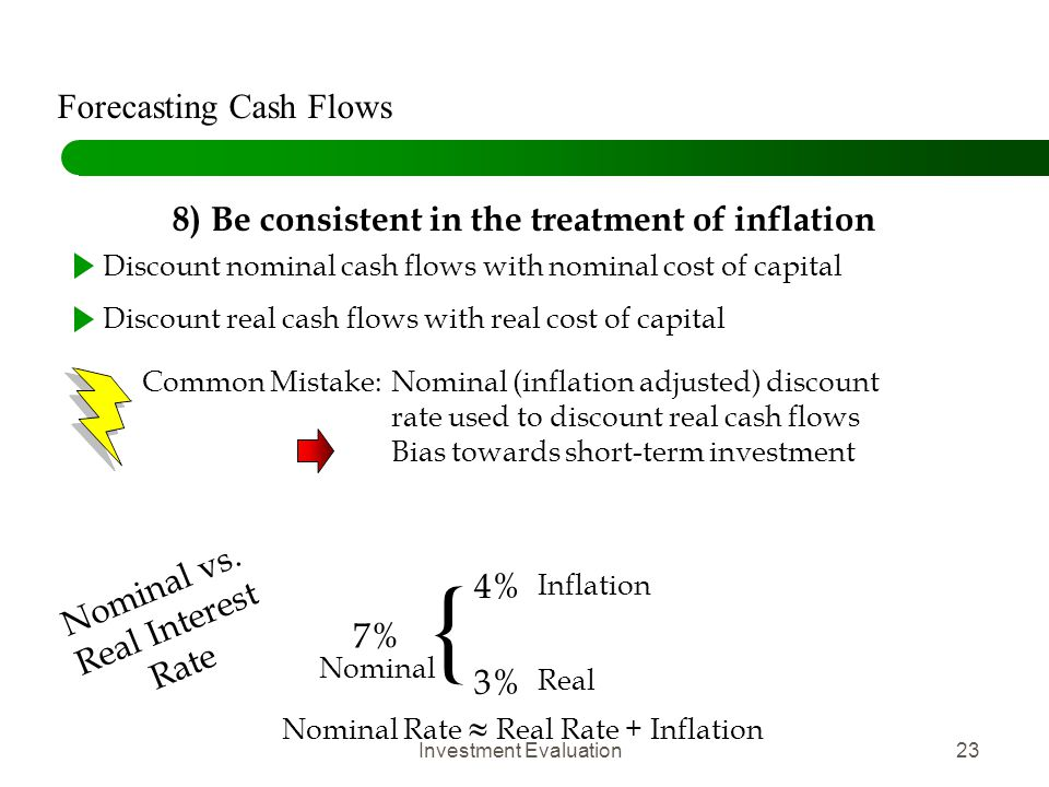 Investment Evaluation23 8) Be consistent in the treatment of inflation Discount nominal cash flows with nominal cost of capital Discount real cash flo