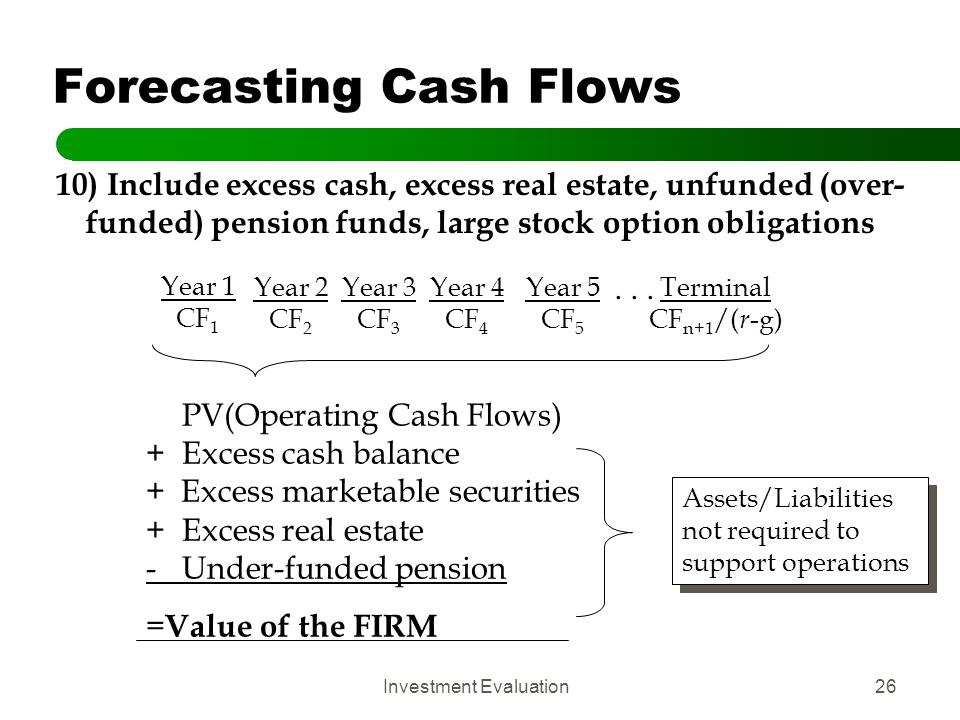 Investment Evaluation26 Forecasting Cash Flows 10) Include excess cash, excess real estate, unfunded (over- funded) pension funds, large stock option