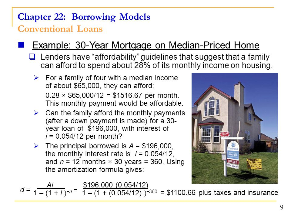 """Chapter 22: Borrowing Models Conventional Loans 9 Example: 30-Year Mortgage on Median-Priced Home  Lenders have """"affordability"""" guidelines that sugge"""