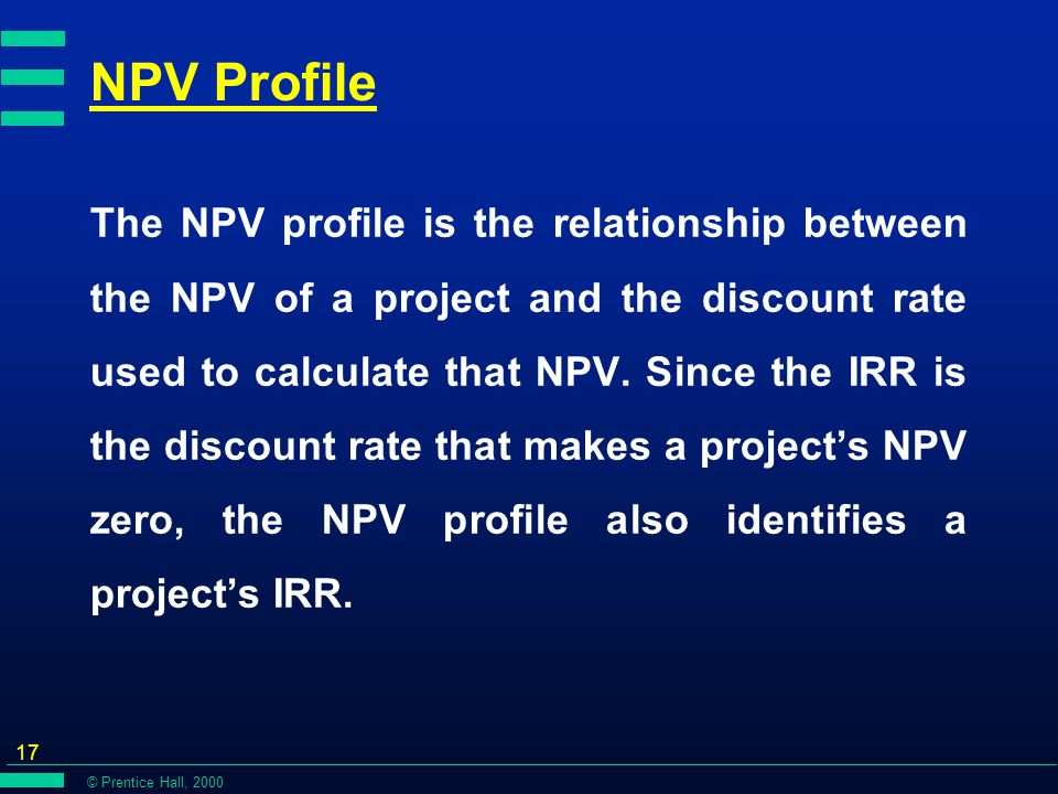 © Prentice Hall, 2000 17 NPV Profile The NPV profile is the relationship between the NPV of a project and the discount rate used to calculate that NPV.