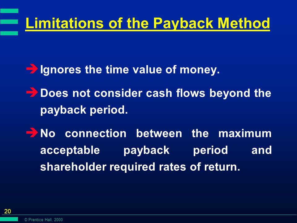 © Prentice Hall, 2000 20 Limitations of the Payback Method è Ignores the time value of money.