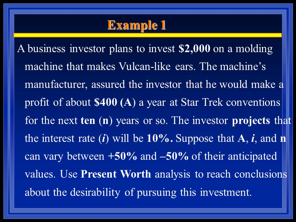 Example 1 A business investor plans to invest $2,000 on a molding machine that makes Vulcan-like ears.