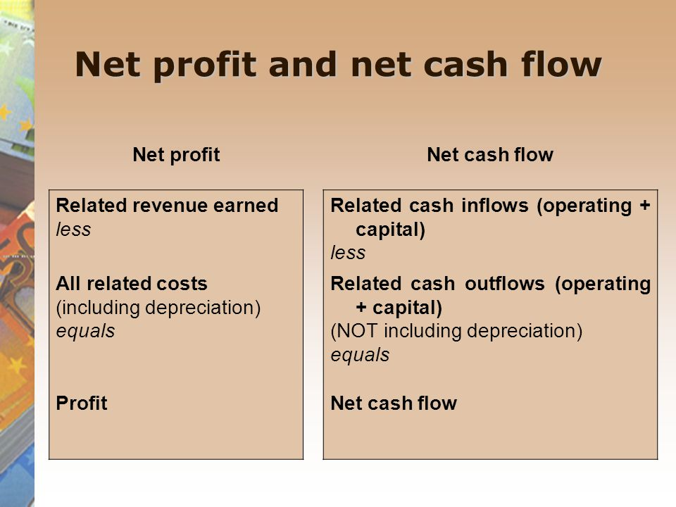 Net profit and net cash flow Net profitNet cash flow Related revenue earned less Related cash inflows (operating + capital) less All related costs (in