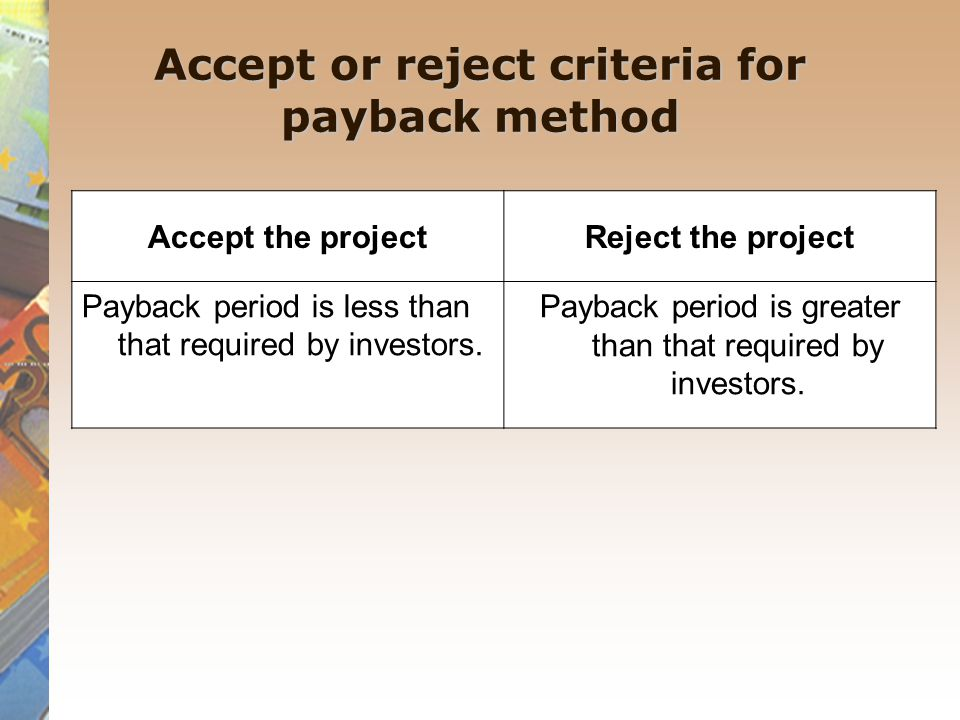 Accept or reject criteria for payback method Accept the projectReject the project Payback period is less than that required by investors. Payback peri