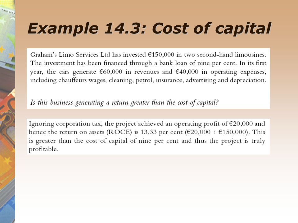 Example 14.3: Cost of capital