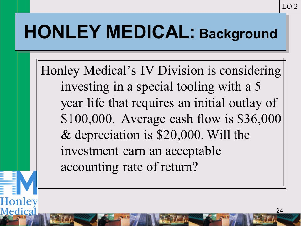 24 HONLEY MEDICAL: Background Honley Medical's IV Division is considering investing in a special tooling with a 5 year life that requires an initial outlay of $100,000.