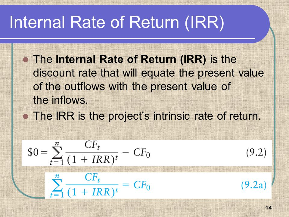 14 Internal Rate of Return (IRR) The Internal Rate of Return (IRR) is the discount rate that will equate the present value of the outflows with the pr