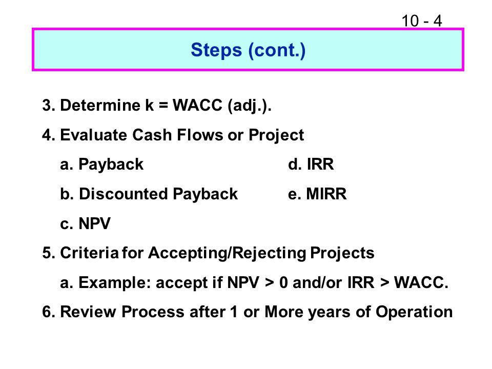 10 - 15 Calculator Solution Enter in CFLO for L: -100 10 60 80 10 CF 0 CF 1 NPV CF 2 CF 3 I = 18.78 = NPV L