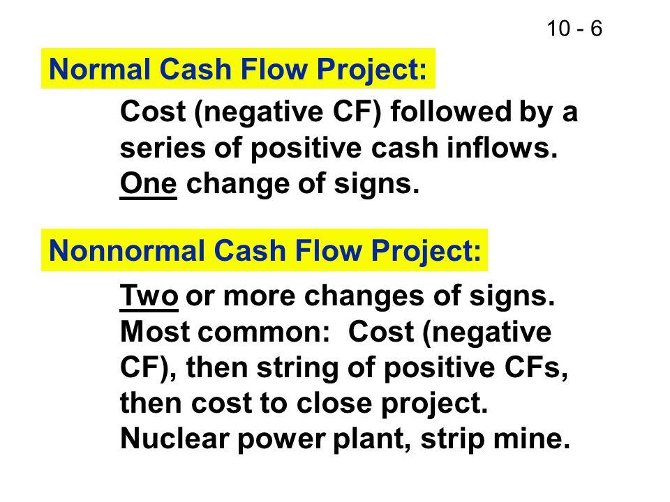 10 - 7 Inflow (+) or Outflow (-) in Year 012345NNN -+++++N -++++- ---+++N +++---N -++-+-
