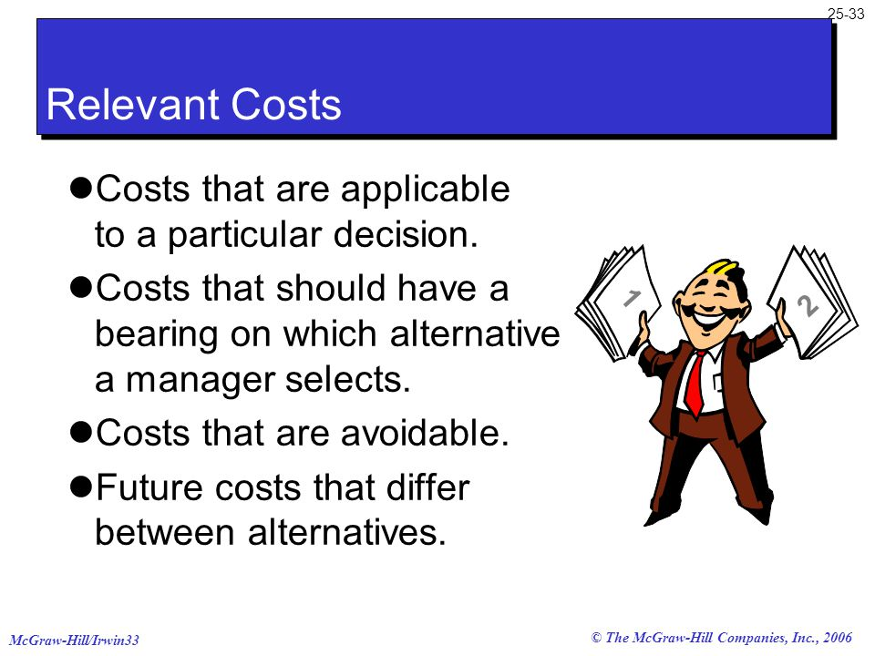 McGraw-Hill/Irwin33 25-33 © The McGraw-Hill Companies, Inc., 2006 Costs that are applicable to a particular decision. Costs that should have a bearing