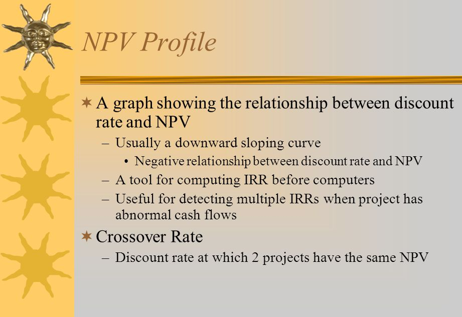 NPV Profile  A graph showing the relationship between discount rate and NPV –Usually a downward sloping curve Negative relationship between discount rate and NPV –A tool for computing IRR before computers –Useful for detecting multiple IRRs when project has abnormal cash flows  Crossover Rate –Discount rate at which 2 projects have the same NPV