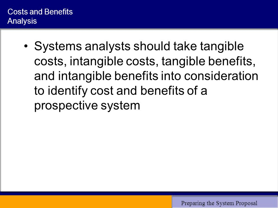 Preparing the System Proposal Costs and Benefits Analysis Systems analysts should take tangible costs, intangible costs, tangible benefits, and intangible benefits into consideration to identify cost and benefits of a prospective system