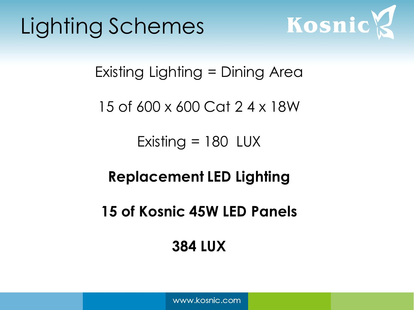 www.kosnic.com Lighting Schemes Existing Lighting = Dining Area 15 of 600 x 600 Cat 2 4 x 18W Existing = 180 LUX Replacement LED Lighting 15 of Kosnic 45W LED Panels 384 LUX