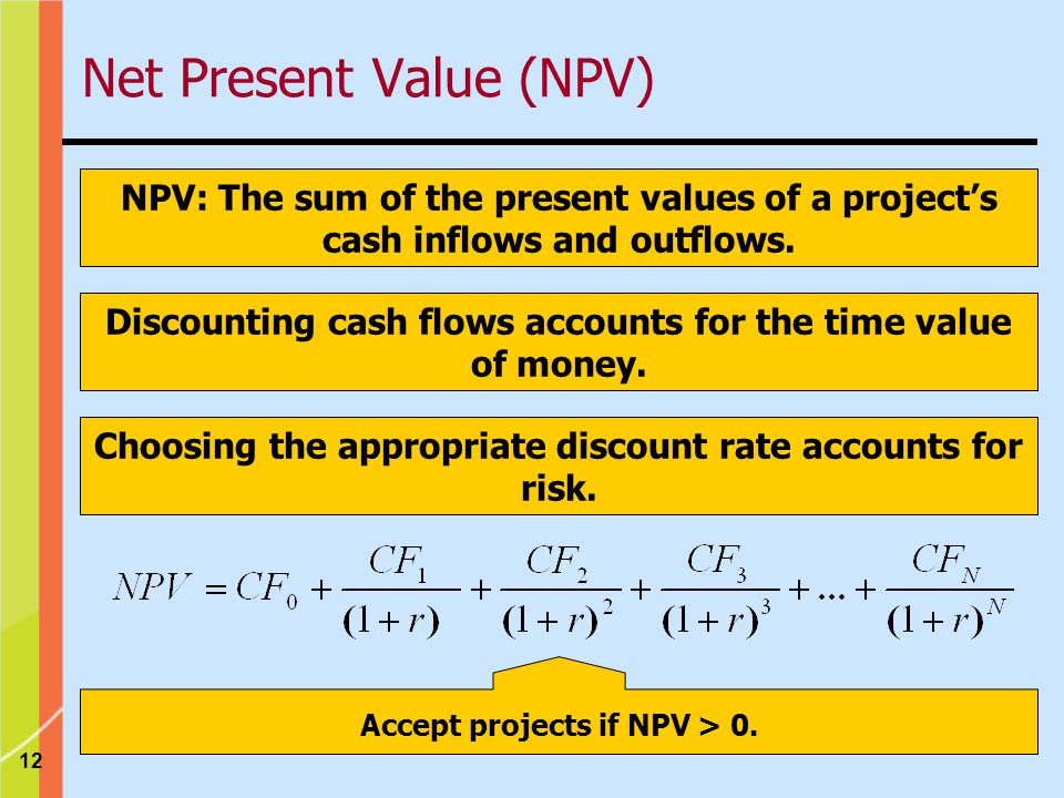 12 NPV: The sum of the present values of a project's cash inflows and outflows.
