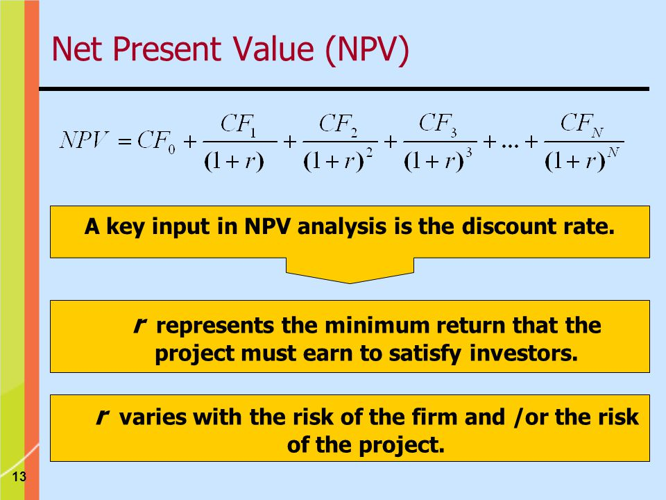 13 A key input in NPV analysis is the discount rate.