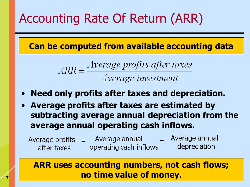 7 Can be computed from available accounting data ARR uses accounting numbers, not cash flows; no time value of money.