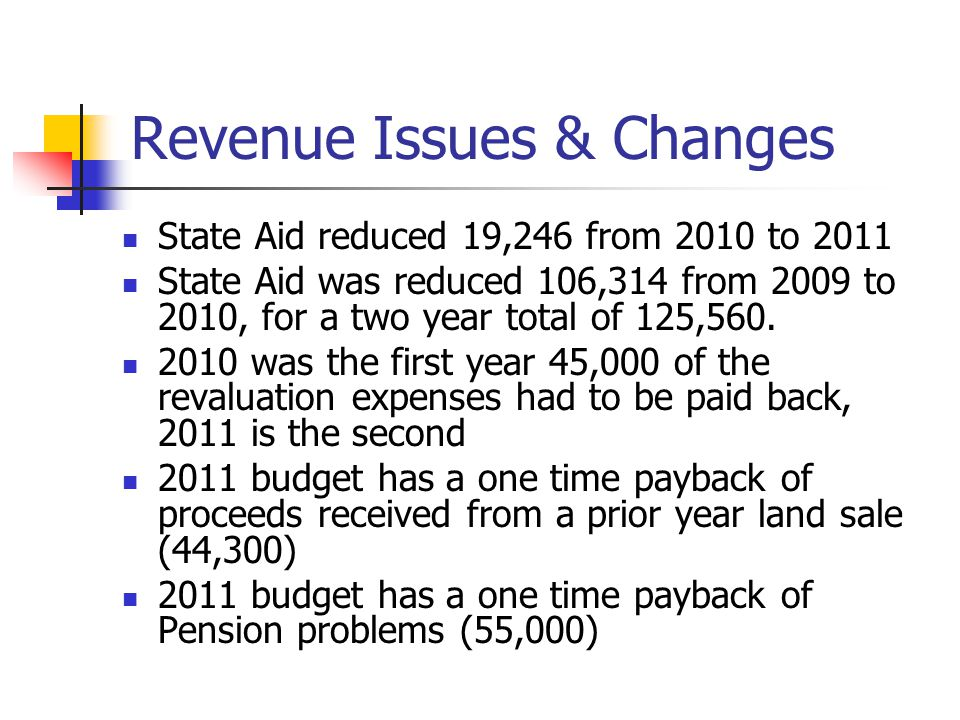 Revenue Issues & Changes State Aid reduced 19,246 from 2010 to 2011 State Aid was reduced 106,314 from 2009 to 2010, for a two year total of 125,560.