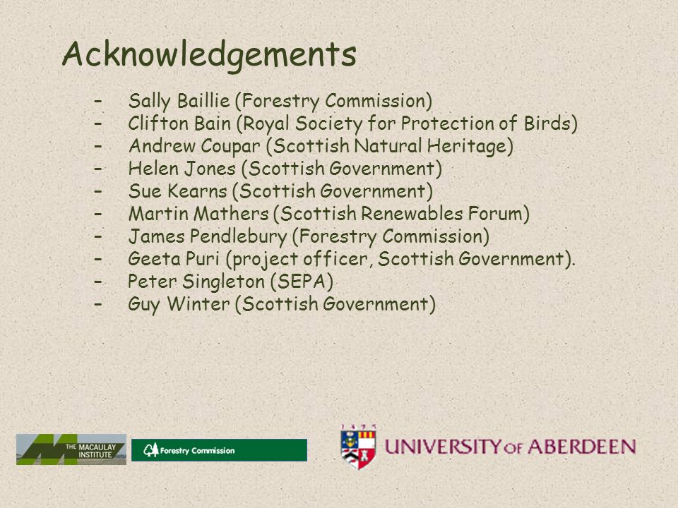Acknowledgements –Sally Baillie (Forestry Commission) –Clifton Bain (Royal Society for Protection of Birds) –Andrew Coupar (Scottish Natural Heritage) –Helen Jones (Scottish Government) –Sue Kearns (Scottish Government) –Martin Mathers (Scottish Renewables Forum) –James Pendlebury (Forestry Commission) –Geeta Puri (project officer, Scottish Government).