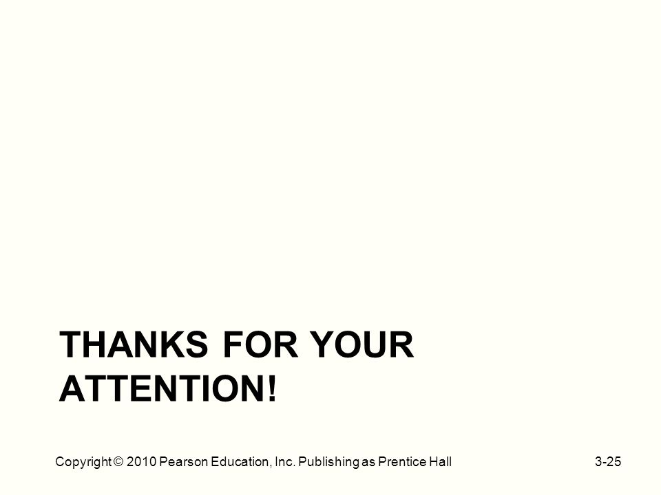 THANKS FOR YOUR ATTENTION! 3-25Copyright © 2010 Pearson Education, Inc. Publishing as Prentice Hall