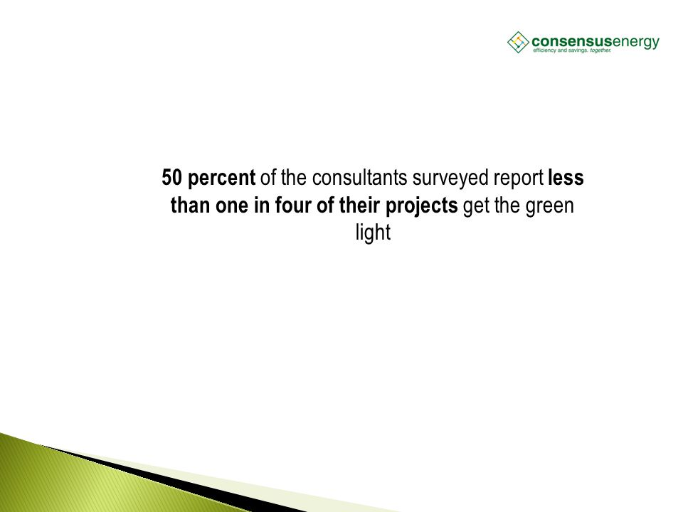 AECS, LLC 50 percent of the consultants surveyed report less than one in four of their projects get the green light