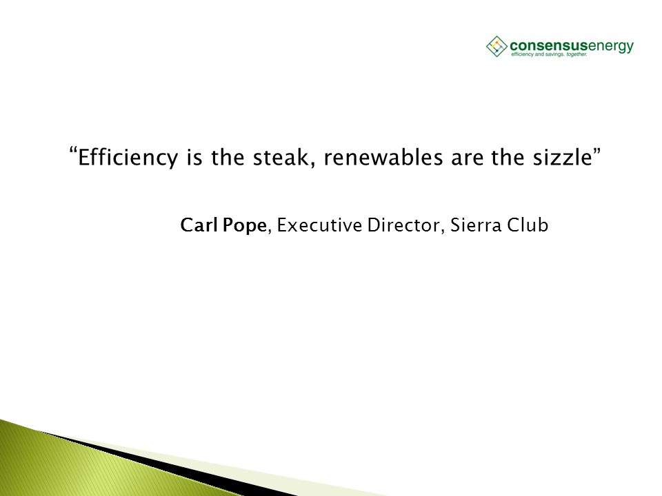 """AECS, LLC """" Efficiency is the steak, renewables are the sizzle"""" Carl Pope, Executive Director, Sierra Club"""