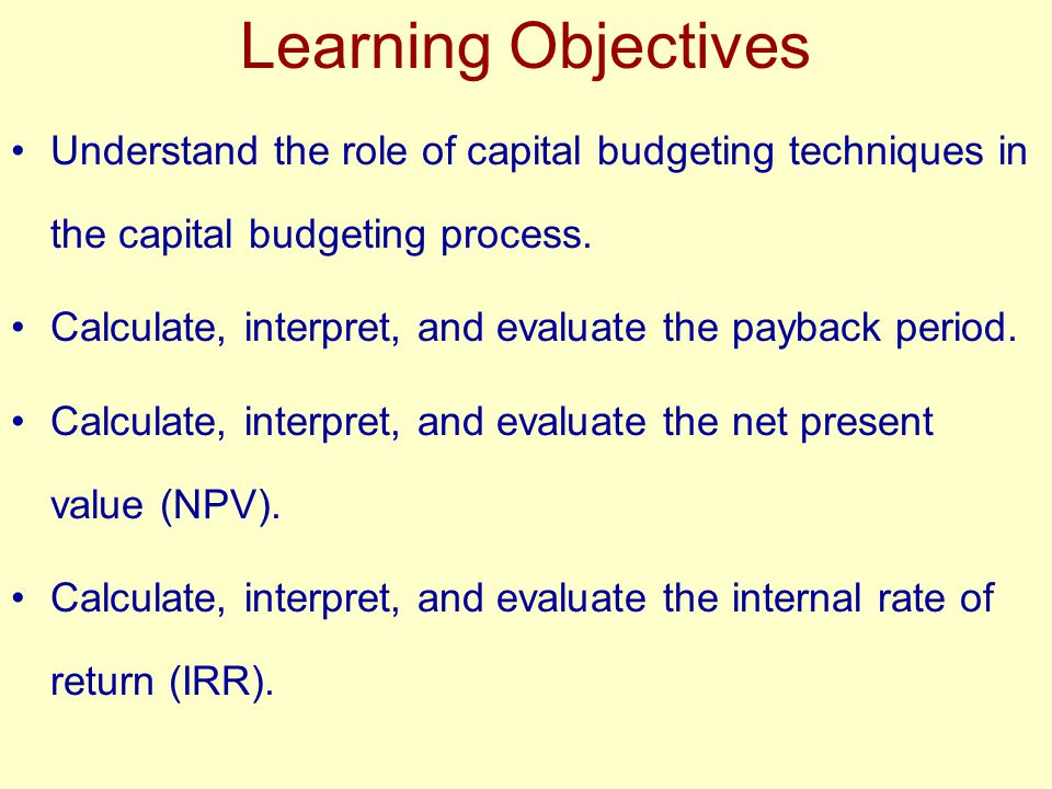 Learning Objectives Understand the role of capital budgeting techniques in the capital budgeting process.