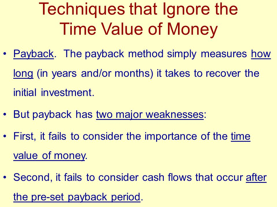 Techniques that Ignore the Time Value of Money Payback.