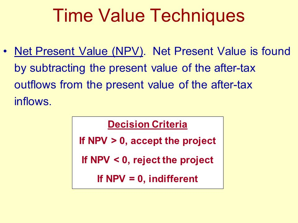 Time Value Techniques Net Present Value (NPV).