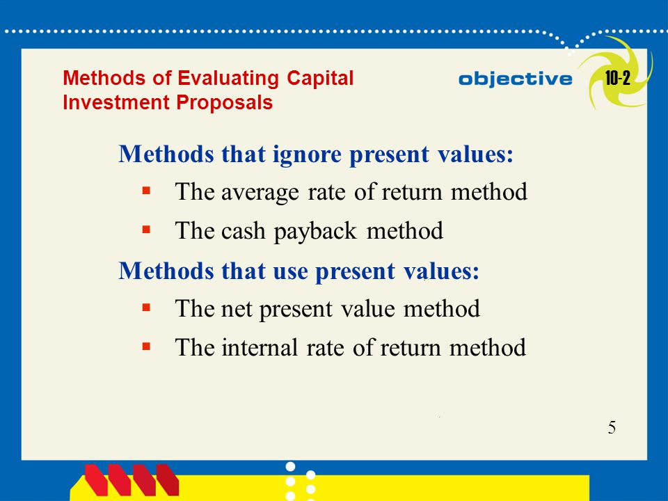 Click to edit Master title style 5 Methods of Evaluating Capital Investment Proposals  The average rate of return method  The cash payback method Me