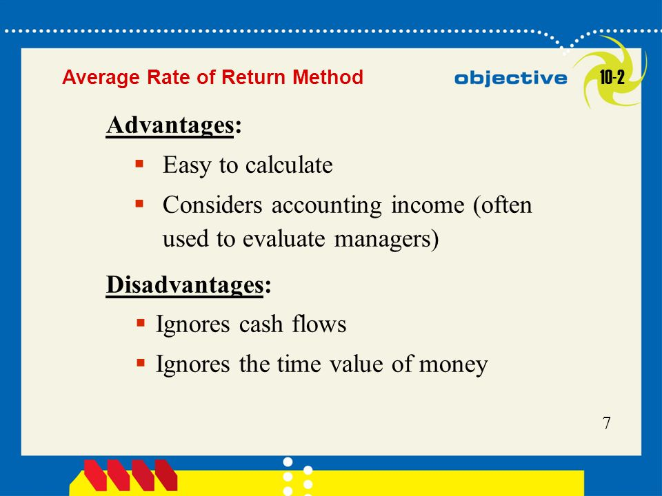 Click to edit Master title style 7  Easy to calculate  Considers accounting income (often used to evaluate managers) Advantages:  Ignores cash flow
