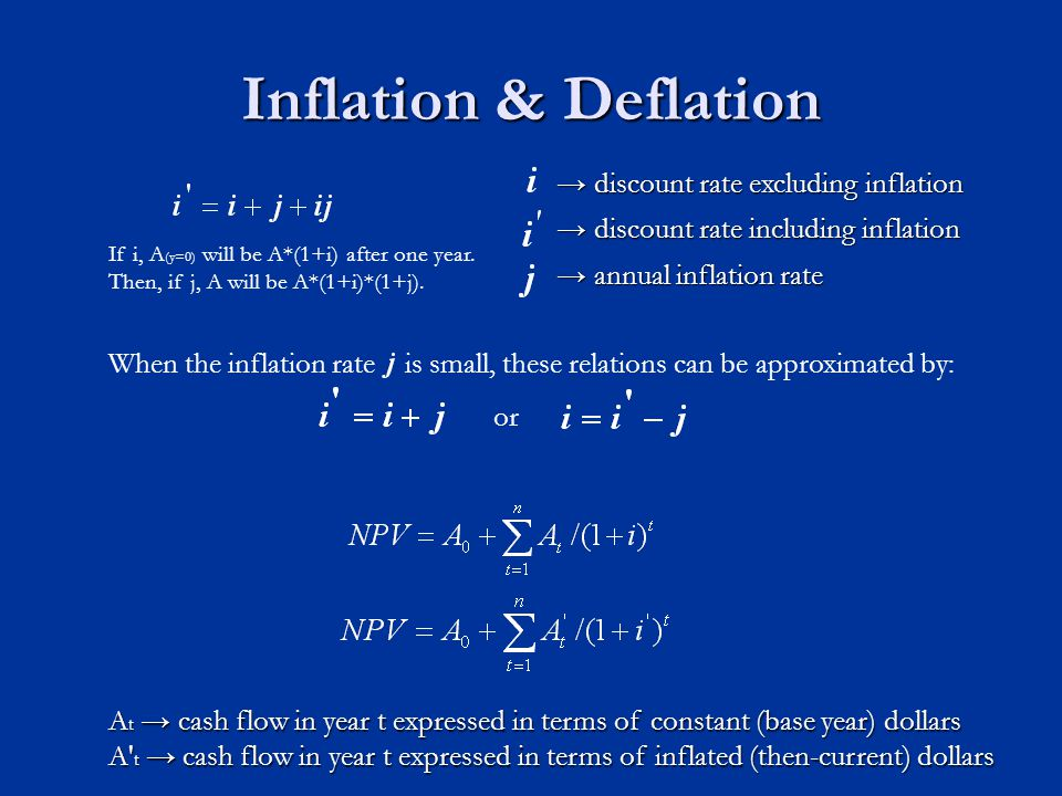 Inflation & Deflation → discount rate excluding inflation → discount rate excluding inflation → discount rate including inflation → discount rate including inflation → annual inflation rate → annual inflation rate A t → cash flow in year t expressed in terms of constant (base year) dollars A t → cash flow in year t expressed in terms of inflated (then-current) dollars or When the inflation rate is small, these relations can be approximated by: If i, A (y=0) will be A*(1+i) after one year.