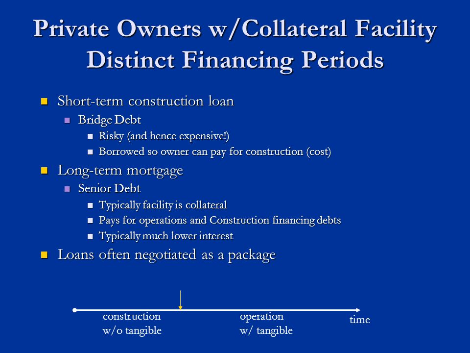Private Owners w/Collateral Facility Distinct Financing Periods Short-term construction loan Short-term construction loan Bridge Debt Bridge Debt Risky (and hence expensive!) Risky (and hence expensive!) Borrowed so owner can pay for construction (cost) Borrowed so owner can pay for construction (cost) Long-term mortgage Long-term mortgage Senior Debt Senior Debt Typically facility is collateral Typically facility is collateral Pays for operations and Construction financing debts Pays for operations and Construction financing debts Typically much lower interest Typically much lower interest Loans often negotiated as a package Loans often negotiated as a package time construction w/o tangible operation w/ tangible