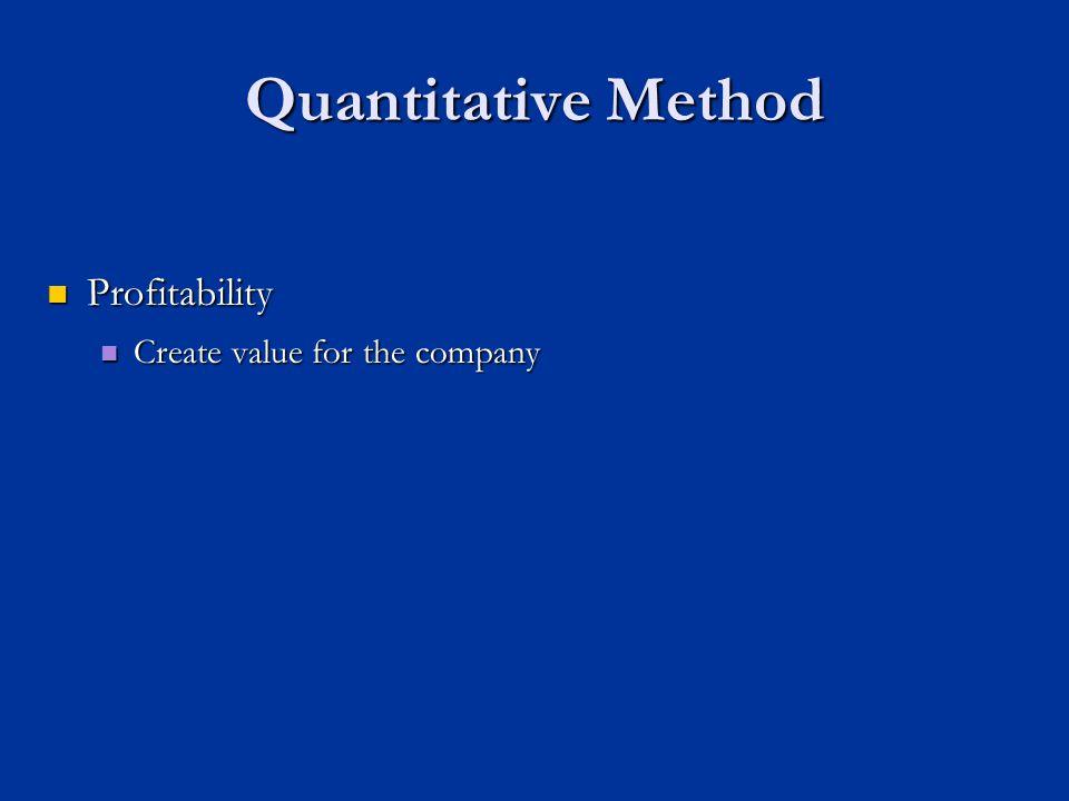 Quantitative Method Profitability Profitability Create value for the company Create value for the company