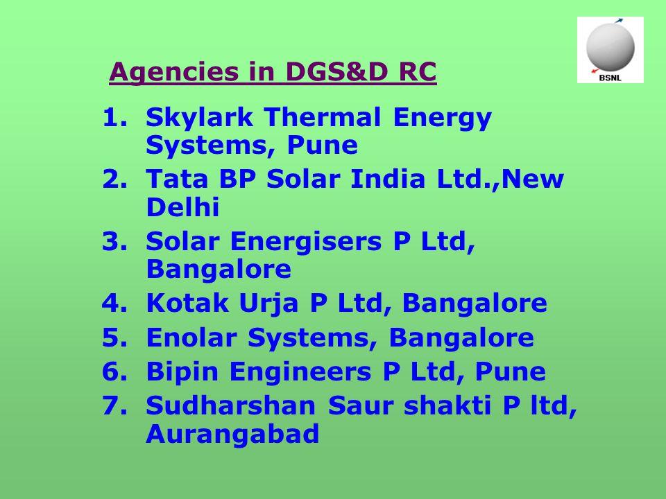 Agencies in DGS&D RC 1.Skylark Thermal Energy Systems, Pune 2.Tata BP Solar India Ltd.,New Delhi 3.Solar Energisers P Ltd, Bangalore 4.Kotak Urja P Ltd, Bangalore 5.Enolar Systems, Bangalore 6.Bipin Engineers P Ltd, Pune 7.Sudharshan Saur shakti P ltd, Aurangabad
