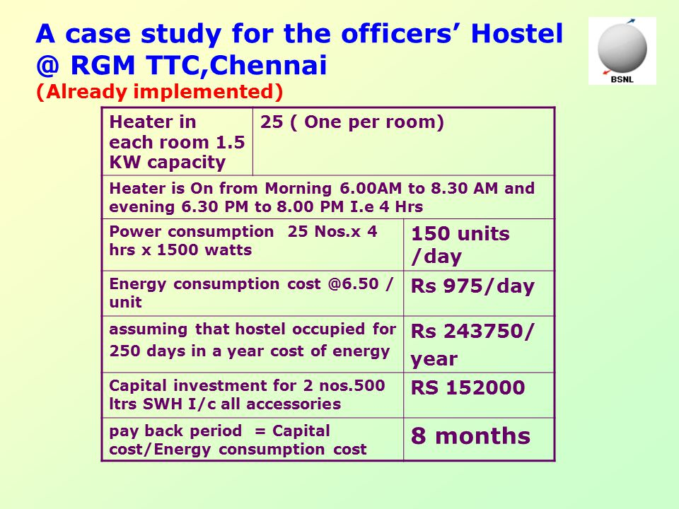 A case study for the officers' Hostel @ RGM TTC,Chennai (Already implemented) Heater in each room 1.5 KW capacity 25 ( One per room) Heater is On from