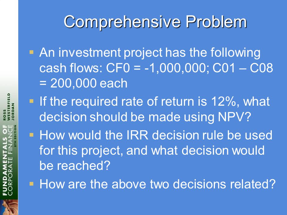 Comprehensive Problem  An investment project has the following cash flows: CF0 = -1,000,000; C01 – C08 = 200,000 each  If the required rate of return is 12%, what decision should be made using NPV.