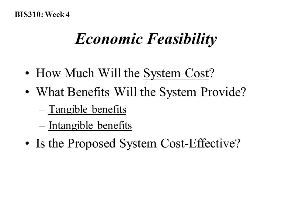 BIS310: Week 4 Economic Feasibility How Much Will the System Cost.