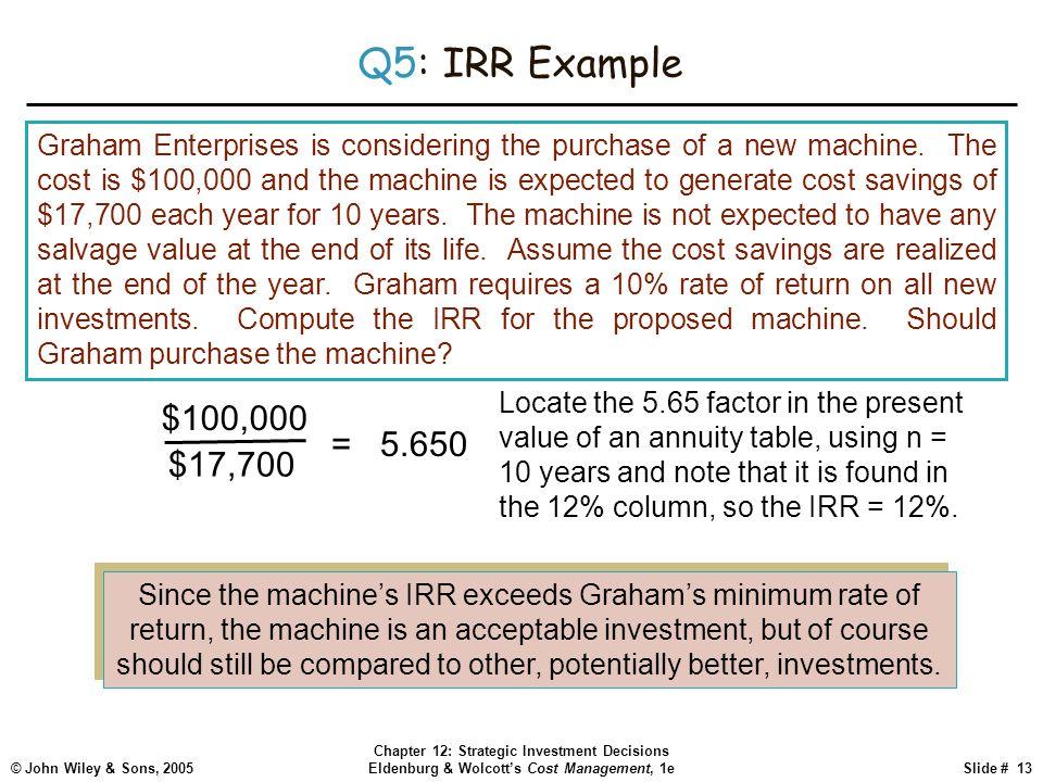 © John Wiley & Sons, 2005 Chapter 12: Strategic Investment Decisions Eldenburg & Wolcott's Cost Management, 1eSlide # 13 Q5: IRR Example Graham Enterp