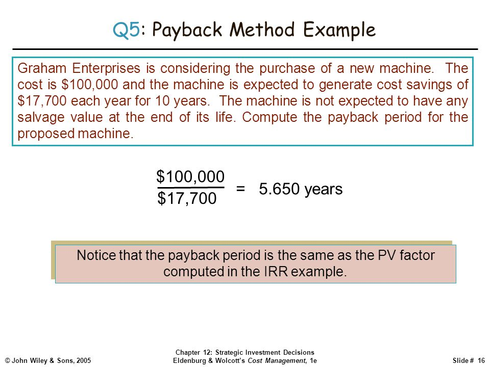 © John Wiley & Sons, 2005 Chapter 12: Strategic Investment Decisions Eldenburg & Wolcott's Cost Management, 1eSlide # 16 Q5: Payback Method Example Gr