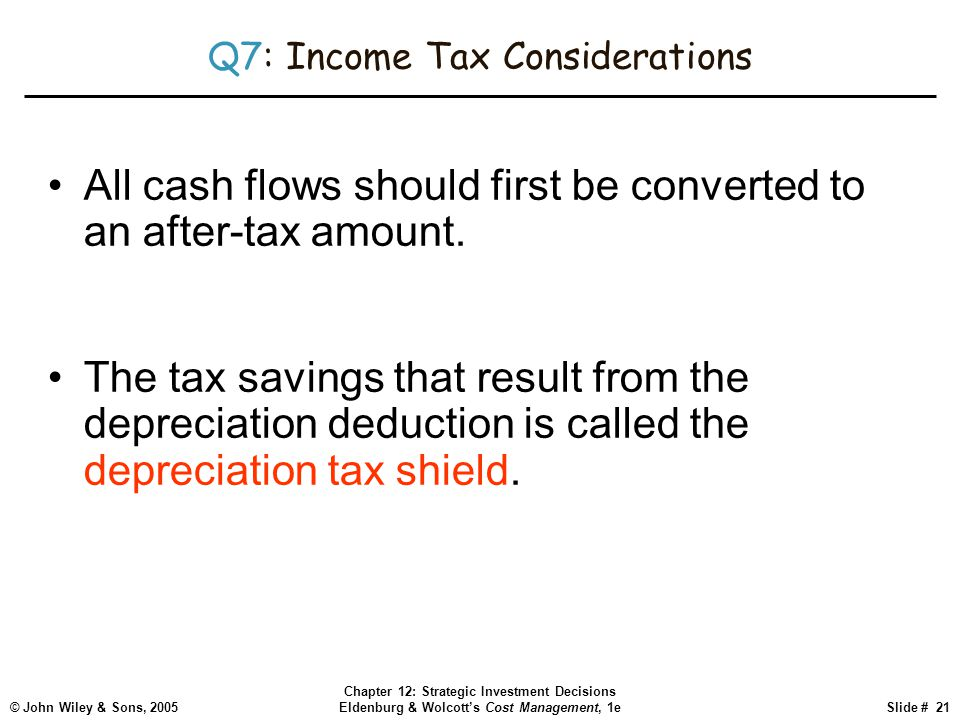 © John Wiley & Sons, 2005 Chapter 12: Strategic Investment Decisions Eldenburg & Wolcott's Cost Management, 1eSlide # 21 Q7: Income Tax Considerations