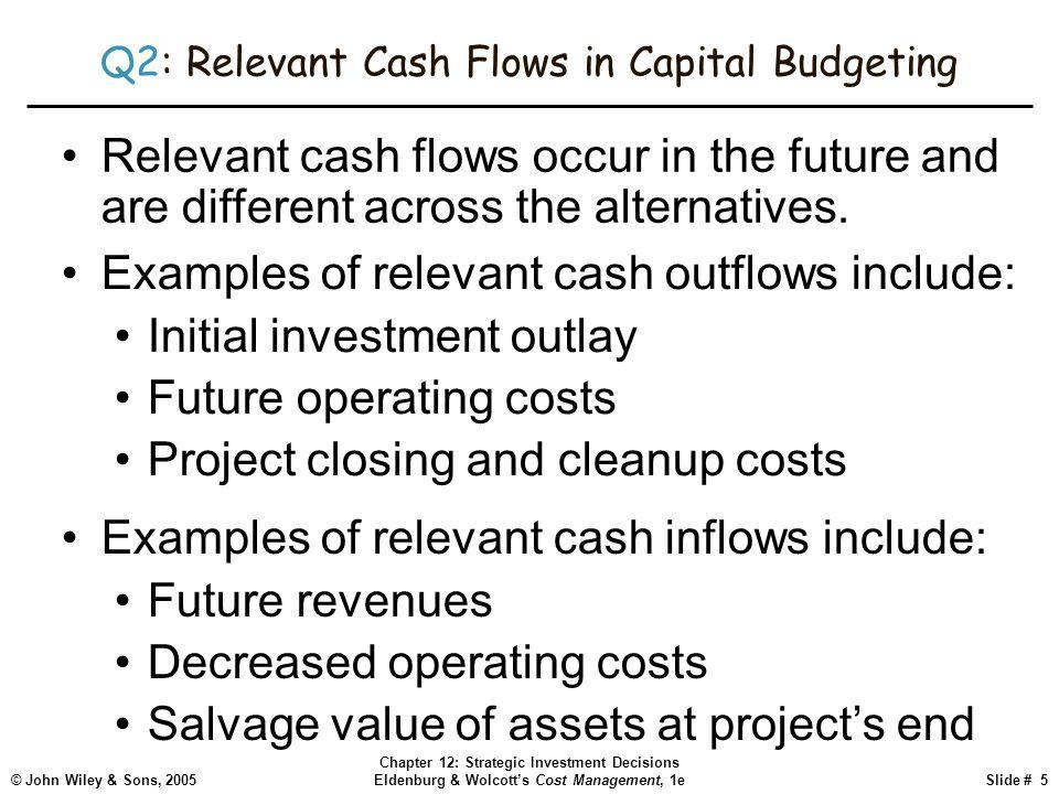 © John Wiley & Sons, 2005 Chapter 12: Strategic Investment Decisions Eldenburg & Wolcott's Cost Management, 1eSlide # 5 Q2: Relevant Cash Flows in Cap