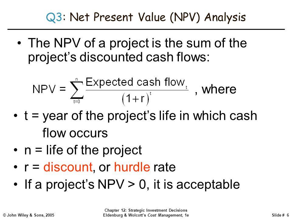 © John Wiley & Sons, 2005 Chapter 12: Strategic Investment Decisions Eldenburg & Wolcott's Cost Management, 1eSlide # 6 Q3: Net Present Value (NPV) An