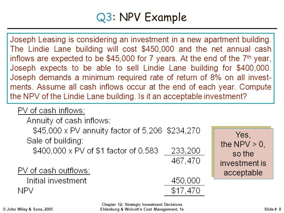 © John Wiley & Sons, 2005 Chapter 12: Strategic Investment Decisions Eldenburg & Wolcott's Cost Management, 1eSlide # 8 Q3: NPV Example Joseph Leasing