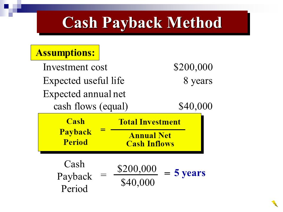 Cash Payback Method Investment cost$200,000 Expected useful life8 years Expected annual net cash flows (equal)$40,000 Assumptions: Cash Payback Period Total Investment Annual Net Cash Inflows = Cash Payback Period $200,000 = $40,000 = 5 years
