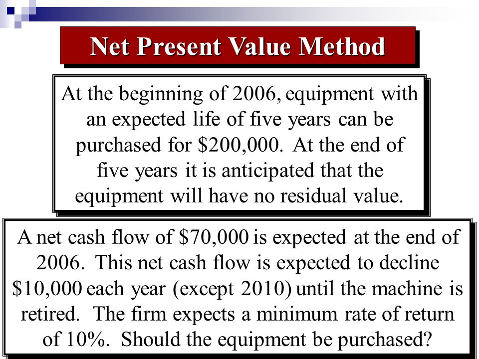 Cash FlowPresent Value At the beginning of 2006, equipment with an expected life of five years can be purchased for $200,000.